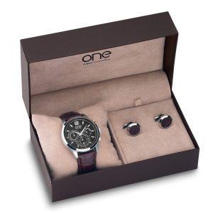relógio e botões de punho