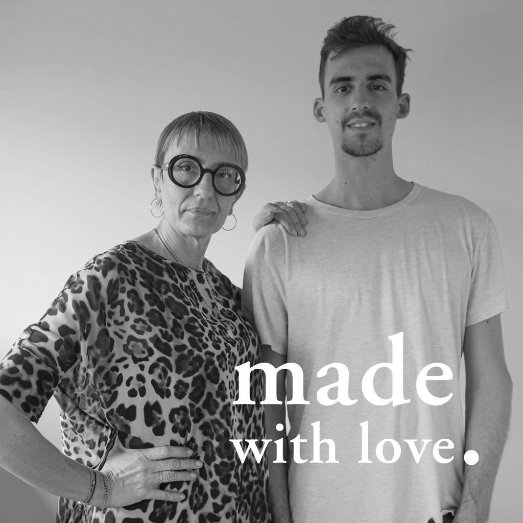Sara Zanon criadora da marca Alisia, junto de Elia, seu filho e braço direito.